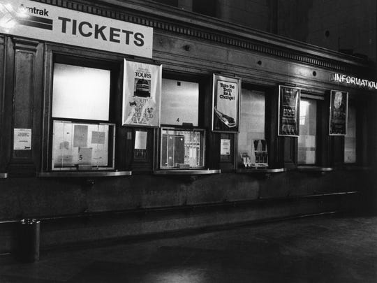 Ticket window at the Michigan Central Station on April, 27, 1982. It was also called the Amtrak Train Station. It permanently closed when the last train departed on January 5, 1988.