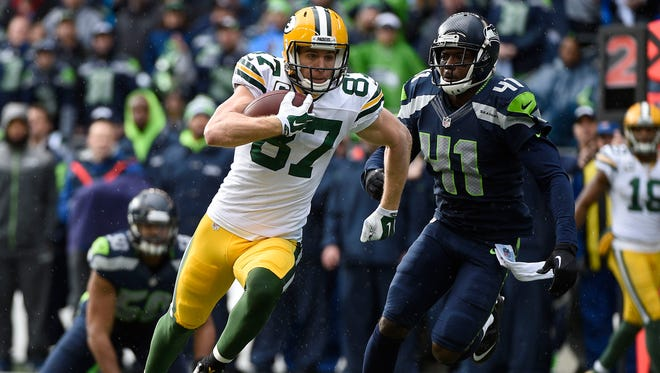 Green Bay Packers wide receiver Jordy Nelson (87) runs the ball against the Seattle Seahawks during the first half in the NFC Championship game at CenturyLink Field in Seattle on Jan. 18.