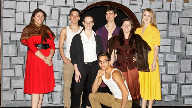 """Roncalli High School will present """"Kiss Me, Kate"""" March 17-19. Pictured is back row, from left, Isabella Beckner, Dallas Laurin, Ethan Peters, Julia Platteter; middle row: Grace Simono, Leah Brey; front row: Christian Bradley."""