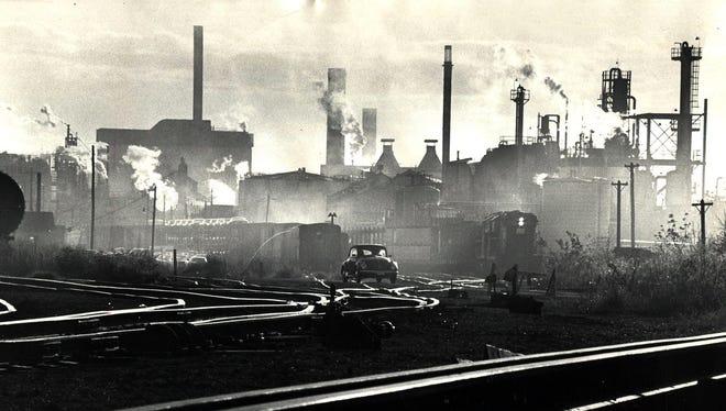 Smokestacks from Procter & Gamble's Ivorydale complex in St. Bernard, as seen in November 1975.