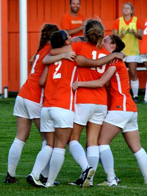 The No. 6 Brighton girls soccer team won the Lakes Conference championship with a 2-1 victory over Walled Lake Northern on Thursday.