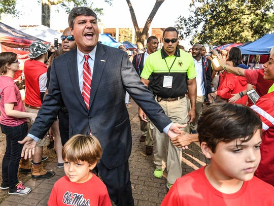 Mississippi interim head coach Matt Luke leads the