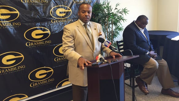 Grambling coach Broderick Fobbs addresses the media