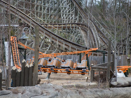 The new junior coaster Whistle Punk Chaser at Dollywood