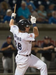 Blue Wahoos infielder, Taylor Sparks, (No. 28), snaps