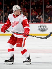 Red Wings defenseman Joe Hicketts skates in his first
