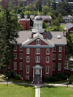 Waller Hall on the Willamette University campus is seen from high atop the Oregon State Capitol.