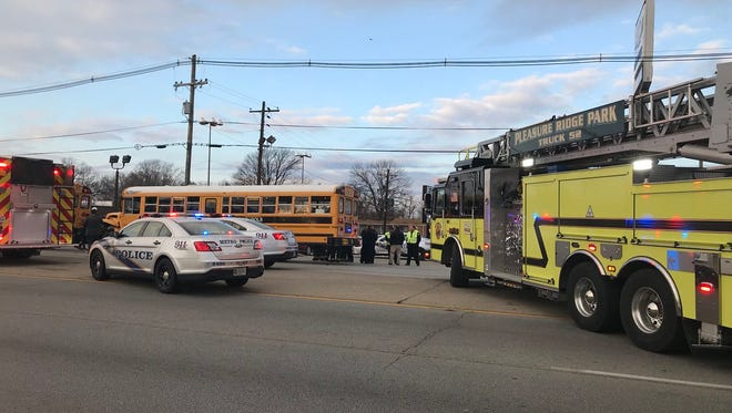 Three JCPS school buses were involved in a crash Thursday morning on Dixie Highway.