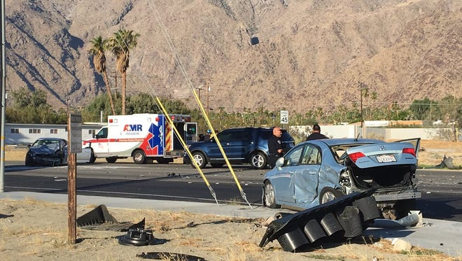 A three-car collision atIndian Canyon DriveandRacquet Club Road in Palm Springs resulted in two injuriesMonday morning.