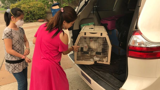 Favor Ni said she and her family lived in their van for two days with three chickens, three cats, two kids and two adults until they found a hotel that would accept pets. They were allowed to return home Monday from the Carr Fire evacuation.