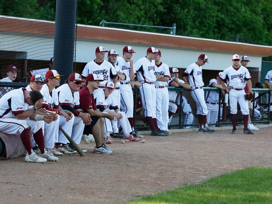 Sheboygan A's players listen to a program in 2017 in Sheboygan, Wis.