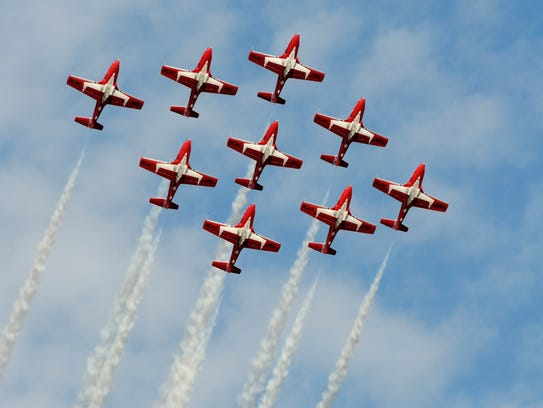The Snowbirds perform at the Comox Armed Forces Day