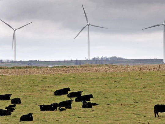 Wind generators near cattle southwest of Adair in April 2011.
