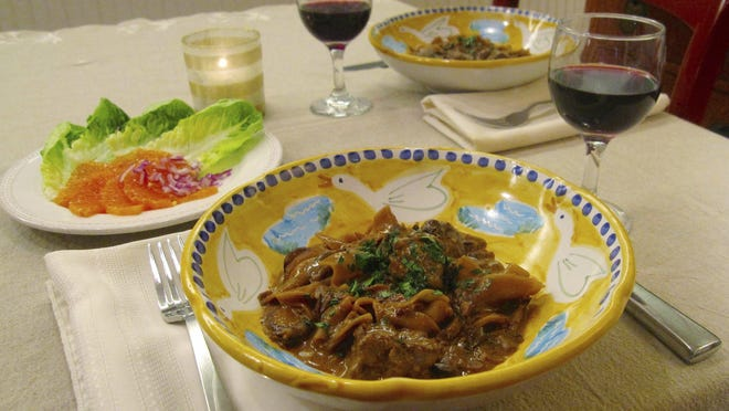 Amped-Up Beef Stroganoff is a 1-pot dish.