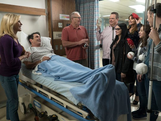 "Hospitalization for Phil (Ty Burrell), in bed, leads to side effects for other family members in the 200th episode of ABC's ""Modern Family."""