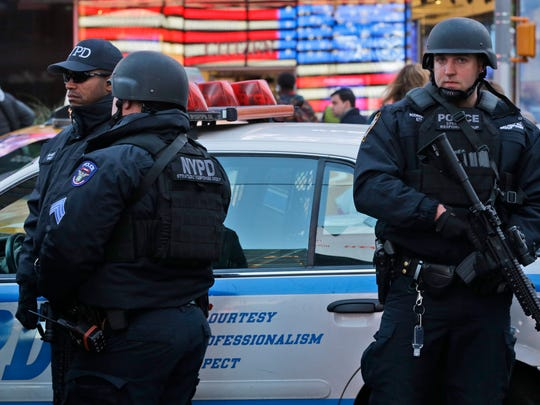 Heavily armed New York city police officers with the