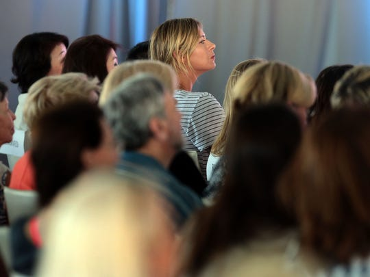 WTA player Maria Sharapova waits for her turn to speak at the ANA Inspiring Women in Sports Conference at Mission Hills Country Club in Rancho Mirage on Tuesday, March 28, 2017.