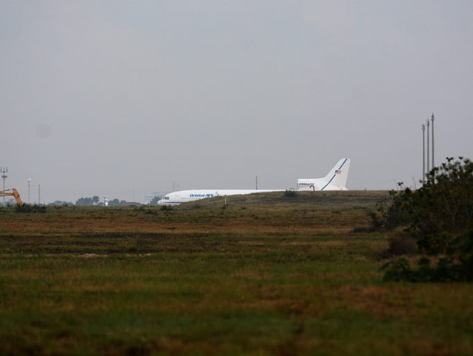 The Orbital ATK L-1011 aircraft sits on the skid strip