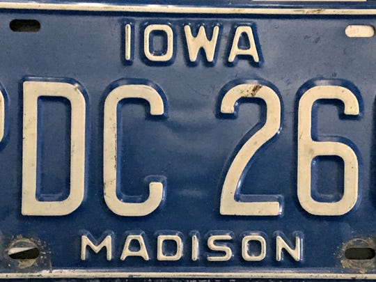 An Iowa license plate from Madison County of the 1986 design.