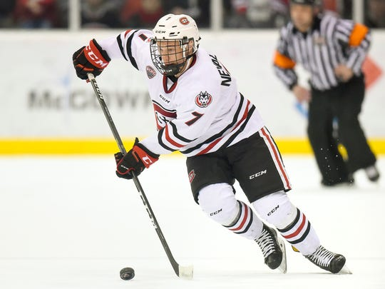 St. Cloud State's Niklas Nevalainen makes a quick cut as he skates into the Colorado College goal during the first period Saturday, March 4, at the Herb Brooks National Hockey Center.