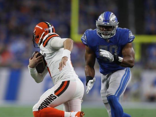 Detroit Lions' Cornelius Washington sacks Cleveland Browns' Cody Kessler in the third quarter Sunday, Nov. 12, 2017 at Ford Field.