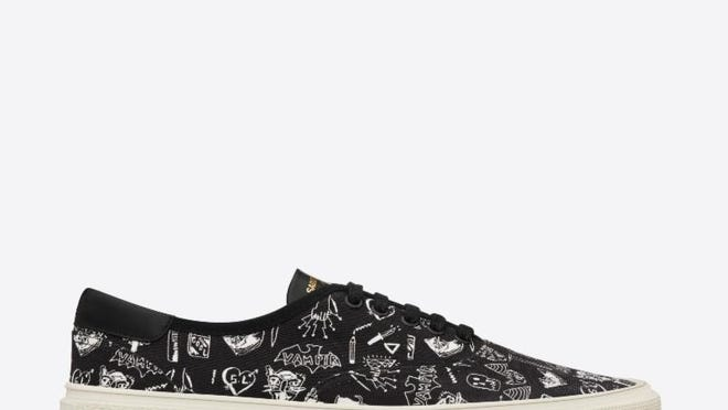 """The Saint Laurent men's Fall/Winter 2014 collection will feature Seth Bogart's """"Hunx Notebook"""" print on lace-up sneakers."""