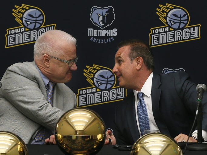 Jerry Crawford, left, shakes hands with Jed Kaplan during a news conference announcing the single affiliation partnership between the Iowa Energy and the Memphis Grizzlies at Community Choice Credit Union convention center Tuesday, May 6, 2014. Kaplan is the new managing partner for the Iowa Energy while former managing partner Jerry Crawford, left, will remain as an owner and will become chairman emeritus for the new group.
