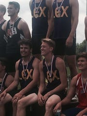 The 4x400 team of, clockwise from top, Forest Volz,