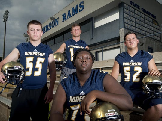 Roberson s football team is fortified by linemen from left to right