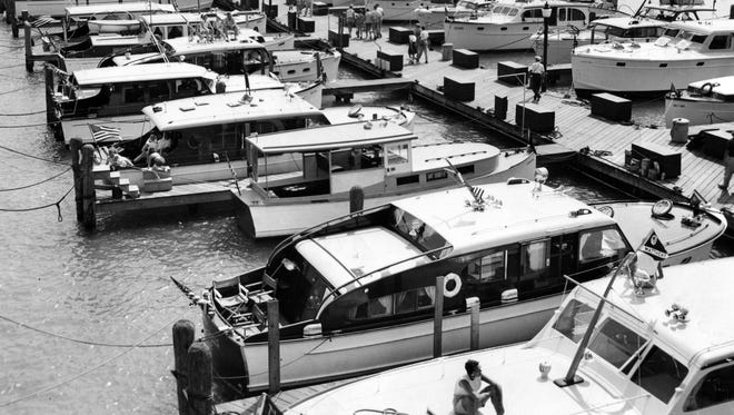 Boaters dock at the Detroit Yacht Club marina in 1958.