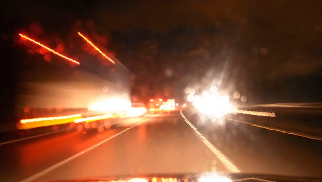 Motorway night driving blur
