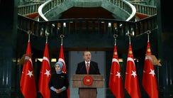 Turkish President Recep Tayyip Erdogan speaks during