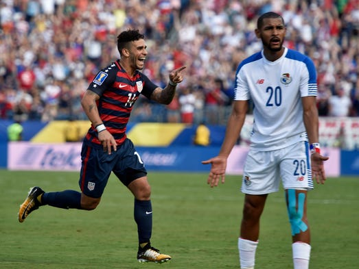 United States forward Dom Dwyer (14) celebrates his