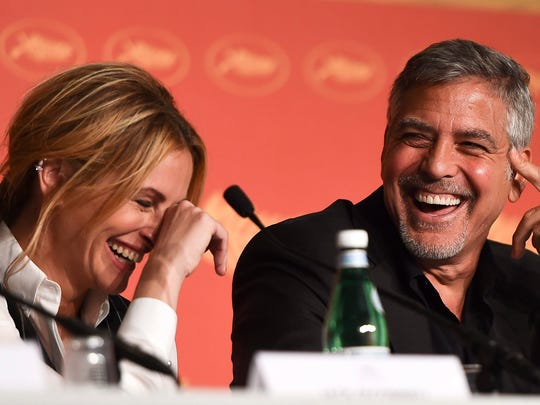 George Clooney and Julia Roberts at their Cannes Film Festival media conference on Thursday.