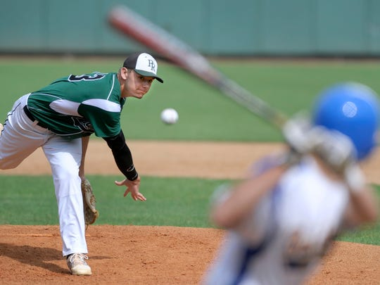 Hunter Parsons throws a heater against Southern in the first inning of the 2A state final in 2014.