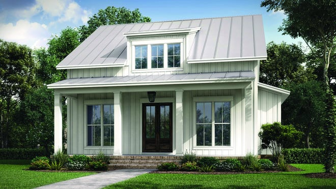 Board and batten siding, elongated windows, and a welcoming front porch deliver country curb appeal to this farmhouse design.