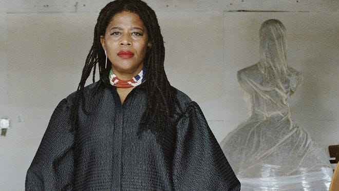 Artist Simone Leigh poses for a photo at Stratton Sculpture Studios in Philadelphia. Leigh will be the first Black woman ever to represent the U.S. at Italy's prestigious Venice Biennale arts festival to be held in 2022.
