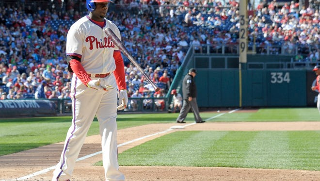 Phillies first baseman Ryan Howard (6) reacts after striking out at the end of the seventh inning Sunday against the Washington Nationals at Citizens Bank Park. Credit: Eric Hartline-USA TODAY Sports