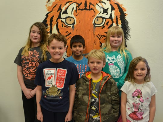 January Students of the Month  Back Row:  Trinity Stephens (5th grade), Aiden Smith (4th grade), Rylie Parsons (3rd grade),   Front Row:  Thatcher Bryan (2nd grade), Scott Glasscock (1st grade), Macey Wrye (kindergarten)