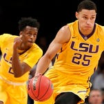 In this Nov. 24, 2015, file photo, LSU forward Ben Simmons (25) drives downcourt as teammate Antonio Blakeney (2) follows in the first half of an NCAA college basketball game against North Carolina State in New York. For all of his gaudy numbers, Simmons is still trying to figure out the best way to put the Tigers in position to win. And now the schedule gets harder, starting with Tuesday night's, Dec. 29, 2015, tilt against Wake Forest, followed by the opening of Southeastern Conference play against Vanderbilt and No. 10 Kentucky.