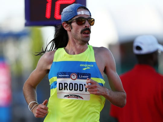 FILE – Noah Droddy runs in the Men's 10000 Meter Final during the 2016 U.S. Olympic Track & Field Team Trials at Hayward Field on July 1, 2016 in Eugene, Oregon.