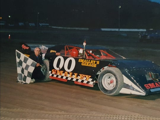 Tom with one of his many wins at Skyline Raceway.