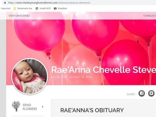This is a screenshot of Rae'Anna Stevenson's obituary.