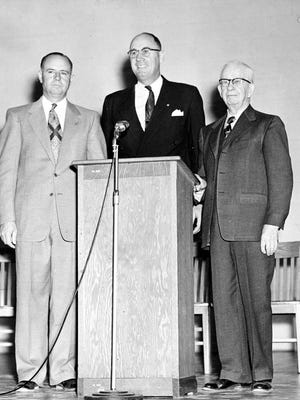 11/17/1953 Three key persons in the dedication ceremony at Deming's new school were Ed Martin, right, J. Cloyd Miller and R.R. (Dick) Lewis.