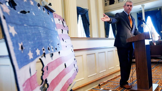 Mississippi House Speaker Philip Gunn in this file photo speaks about the digital replica of the rare 20-star U.S. flag that marked Mississippi's statehood in 1817.
