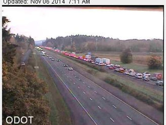 Slowing south of Wilsonville following crash.