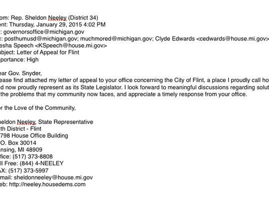 Electronic reproduction of email provided by Rep. Sheldon Neeley