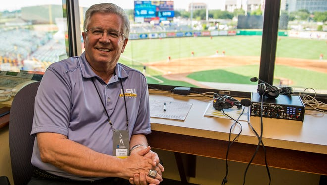 LSU radio host Jim Hawthorne poses for a photograph prior to an NCAA Super Regional game between the LSU Tigers and the UL Ragin' Cajuns at Alex Box Stadium in Baton Rouge, La., Saturday, June 6, 2015.