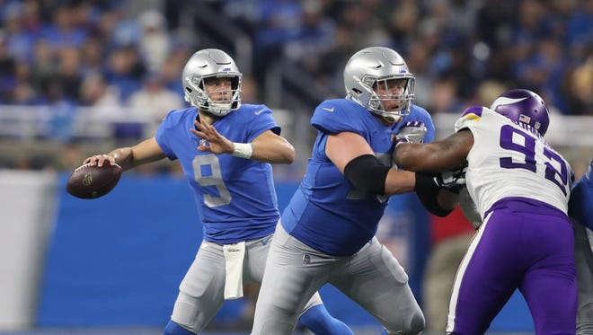 Lions QB Matthew Stafford passes against the Vikings during the second quarter on Thursday, Nov. 23, 2017, at Ford Field.