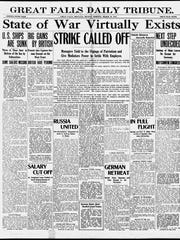 Front page of the Great Falls Tribune on Monday, March 19, 1917.